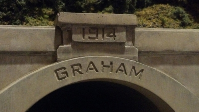 Close up shot of Graham portal weathered and in scenery